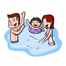 卡通夏季全家人游泳玩耍嬉戏png透明底