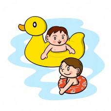 卡通夏季儿童游泳嬉戏png透明底
