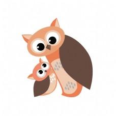 母亲节卡通猫头鹰母子元素