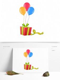 手绘气球礼盒彩带派对装饰