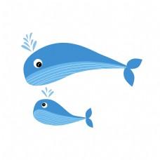 母亲节卡通鲸鱼母子元素