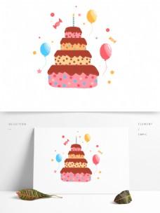 生日快乐双层蛋糕甜品png素材元素图片