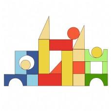 儿童节卡通玩具积木元素