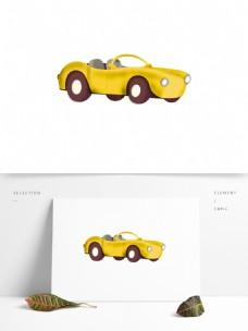 可爱风黄色跑车免抠元素