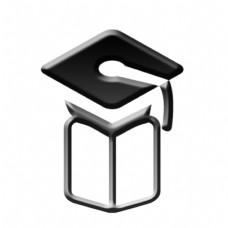黑色立体毕业季博士帽书本博士装饰