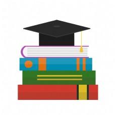 毕业季博士帽书本元素