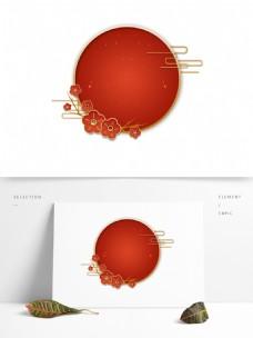 中国古风红色节日标题栏春节花朵边框