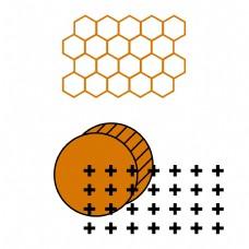 孟菲斯风格橘色系透明免扣元素