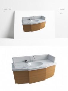 现代简约大理石台面洗手池