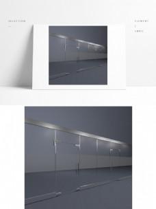 现代简约办公空间玻璃门3D模型