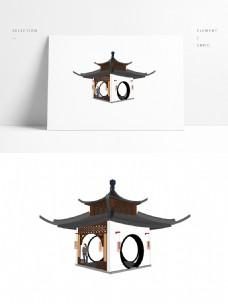 寺庙四角亭SU模型