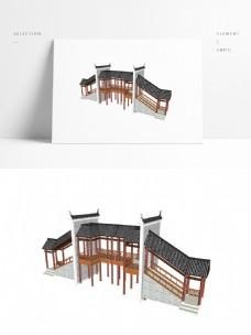 景观常用廊桥SU模型