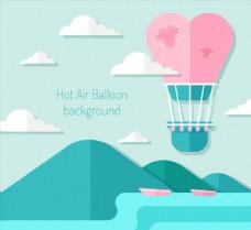 扁平化天空中的爱心热气球