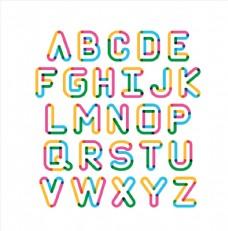 彩色描边字母