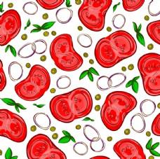 西红柿可爱涂鸦平铺背景图