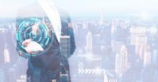 城市科技双重曝光电子商务背景