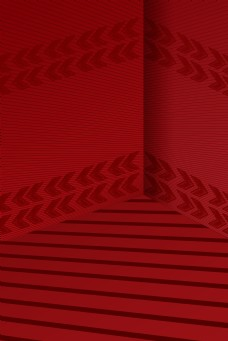 红色棕色简约立体墙角背景图