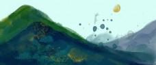 水墨风水彩风中国风蓝绿系水墨山水风景电商