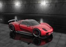 C4D模型红色暗调跑车标准渲染