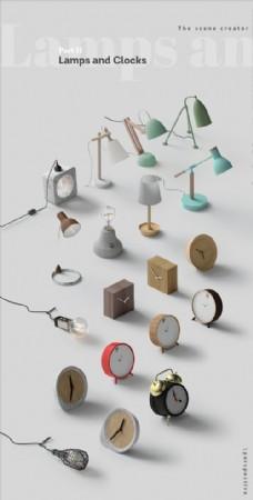 灰色钟表加台灯贴图