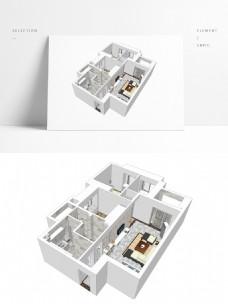 三房户型SU透视模型
