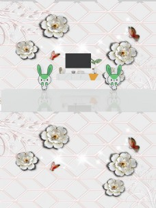 3D立体浮雕珠宝花朵背景墙