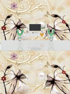 3D透明花朵珠宝背景墙