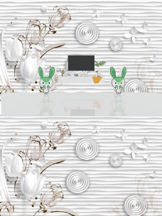 3D百合圆环立体背景墙