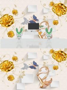 3D立体浮雕黄金花朵背景墙