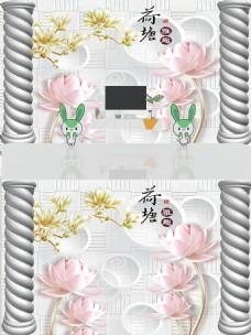 3D立体浮雕罗马柱花朵背景墙
