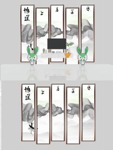 新中式抽象山水背景墙装饰