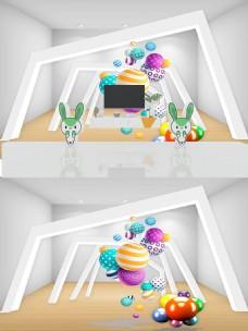 3D立体空间圆球背景墙