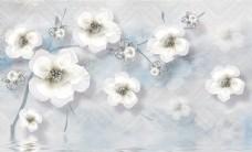 手绘花朵小白花背景