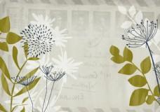 手绘蒲公英绿色叶子壁画背景