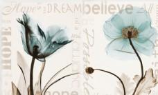蓝色梦幻花朵复古背景