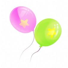 紫色绿色气球