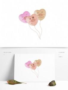可爱手绘心形猪猪气球