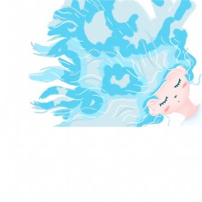 蓝色头发的女孩免扣图
