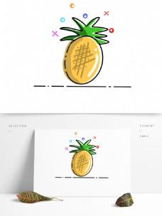 手绘卡通菠萝水果