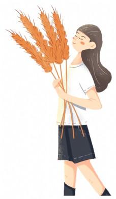 拿着麦子的女孩