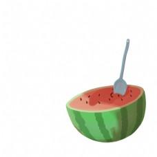 用勺子挖西瓜免扣图