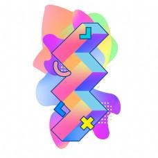 彩色渐变立体形状