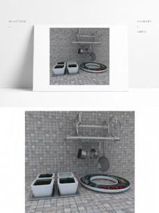 厨房设备碗碟模型(背景是模型无其它链接)