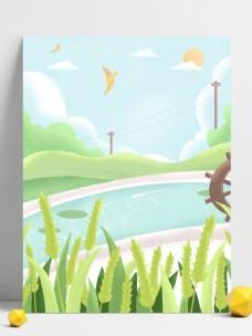 手绘夏季池塘边的小麦背景设计