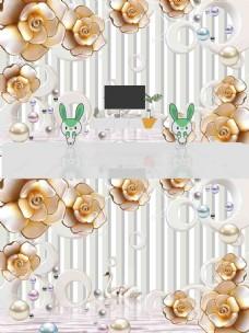 3D浮雕花朵立体背景墙