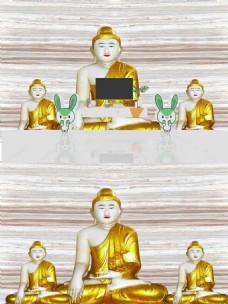 3D宗教佛像背景墙