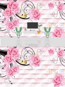 3D时尚花朵立体背景墙