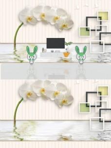 3D百合立体背景墙