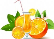 精美水果杯新鮮橙子美味設計素材