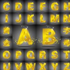 金属质感立体3D字母文字特效